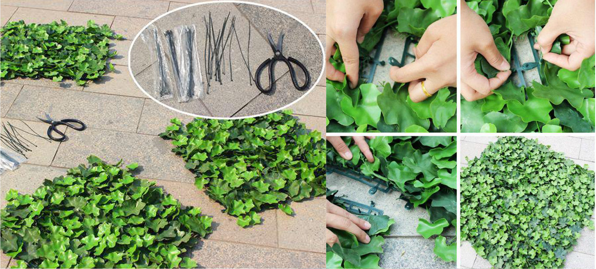 how to install artificial hedge mats