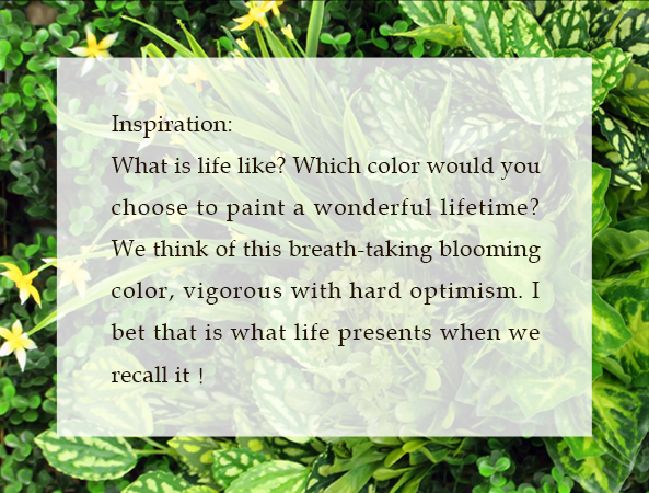 Inspiration: What is life like? Which color would you choose to paint a wonderful lifetime? We think of this breath-taking blooming color, vigorous with hard optimism. I bet that is what life presents when we recall it!