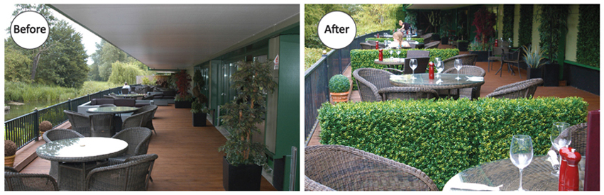 installation of artificial hedge for divider