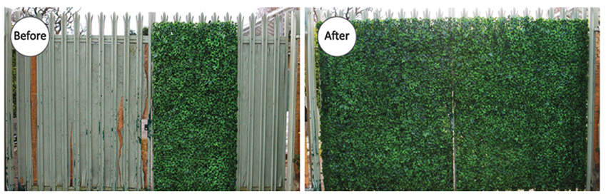 artificial boxwood hedge for unsightly wall covering